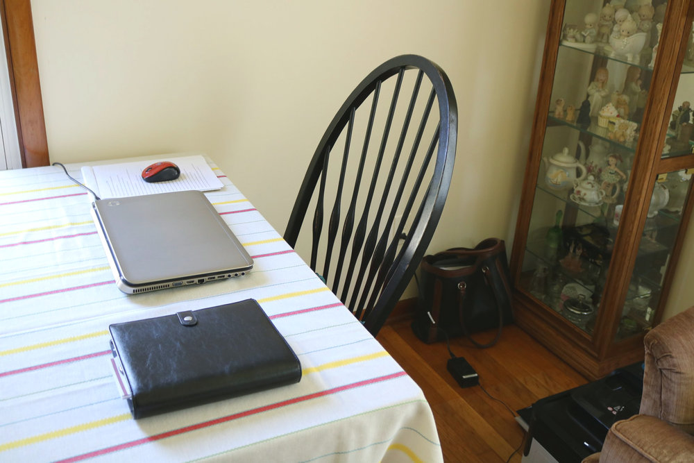 My temporary desk set up at my dining table (which is my pride and joy). I'm a bit nuts over this table.