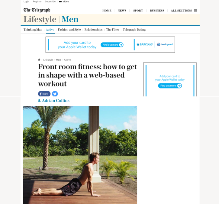 Telegraph article Collins Fitness online