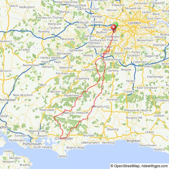 Cogidubnus 200 bike ride audax map route