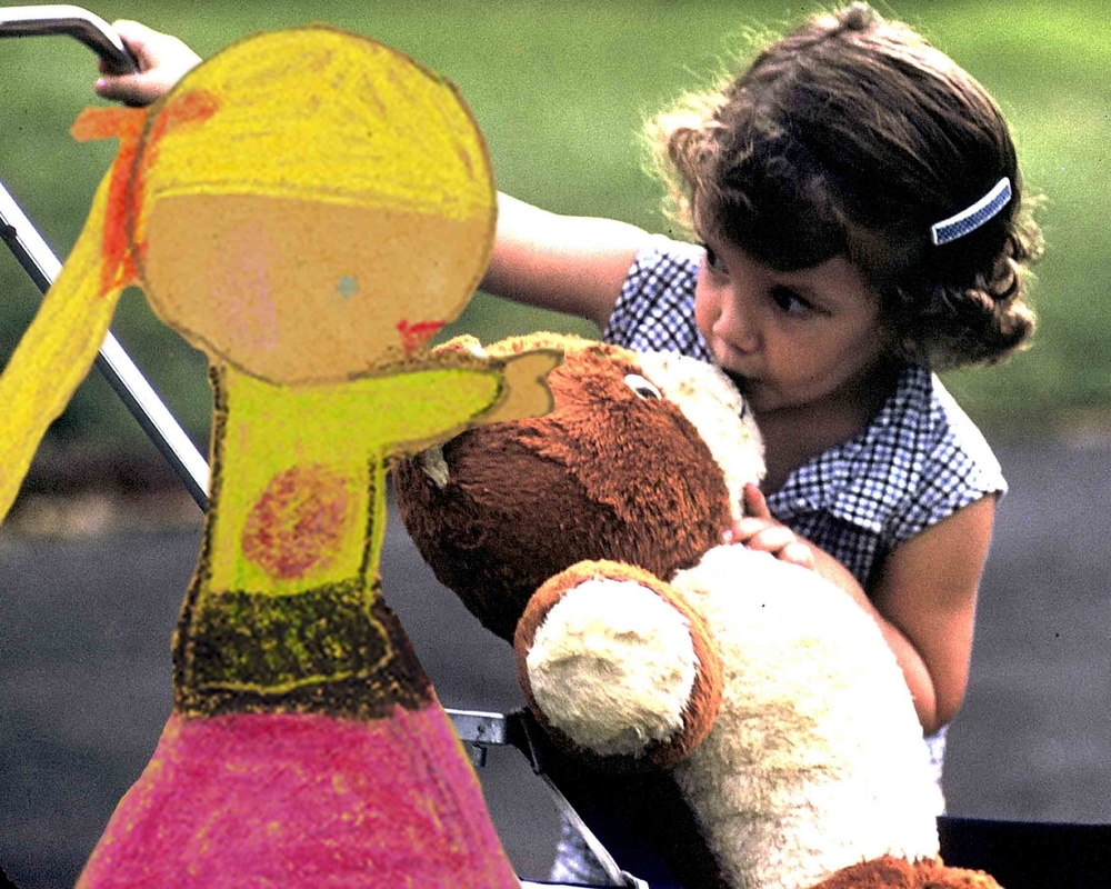 Me and my bear, in 1955. And a beautiful blonde I drew when I was seven.