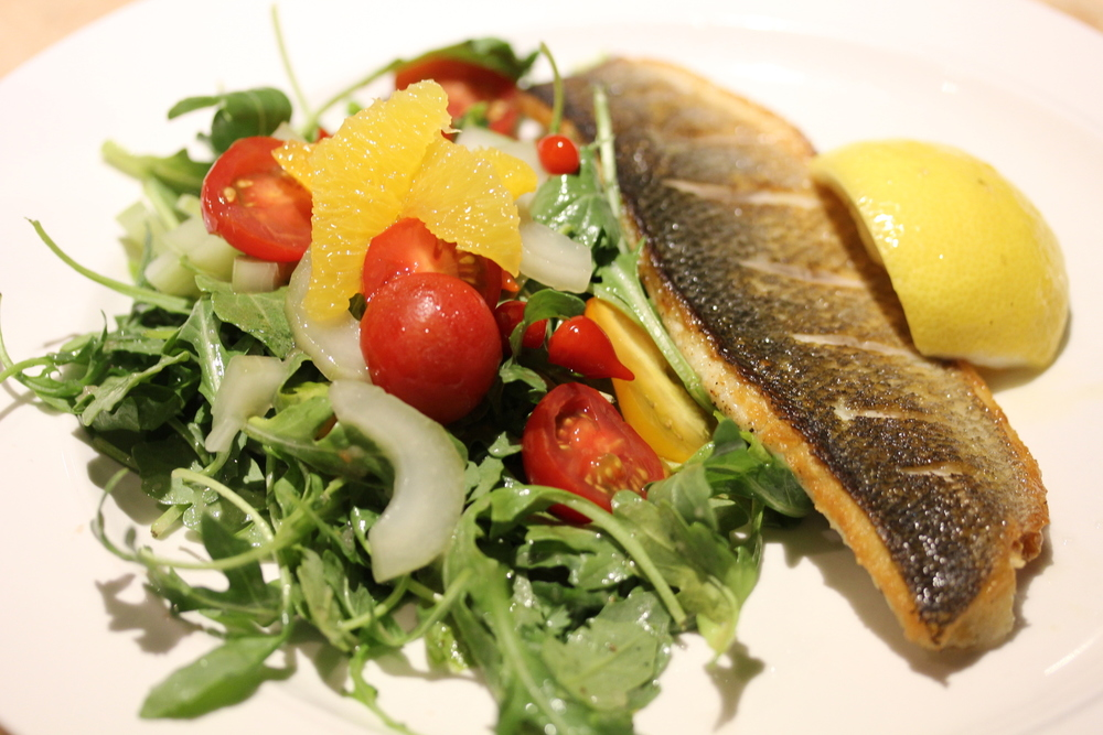 rainbow trout with rocket salad