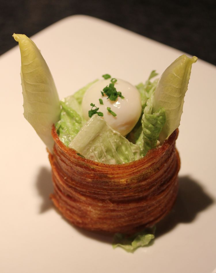 Zee Caesar Salad in a Potato Crouton