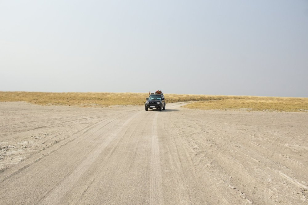 Jolene the Jimny on the salt pans at Nxai Pans National Park