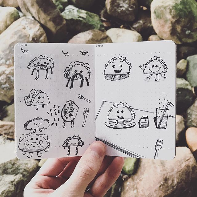 We're thankful for our amazing clients that ask us to create dancing taco GIFs 🌮 Here are our initial sketches! . . . #tacogif #animatedgif #dancingtacos #sketches #penandpaper #fieldnotes #sakura #mountvernonohio