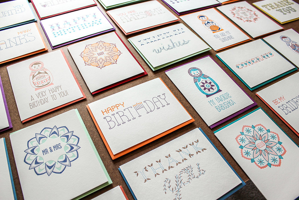 Pressbound Stationery Wholesale Line; design and letterpress printing