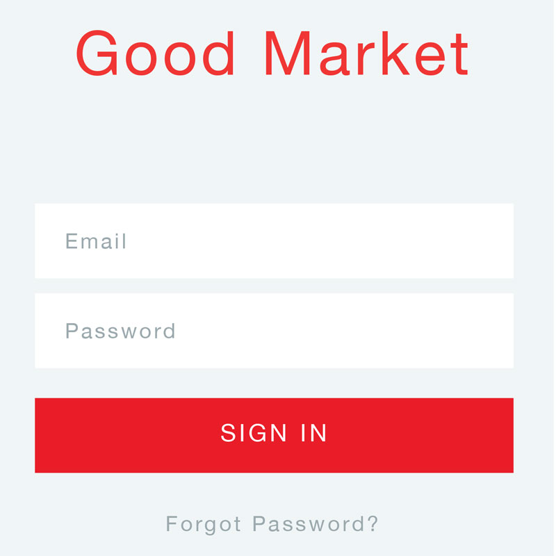 Good Market, grocery shopping app; UX and UI design