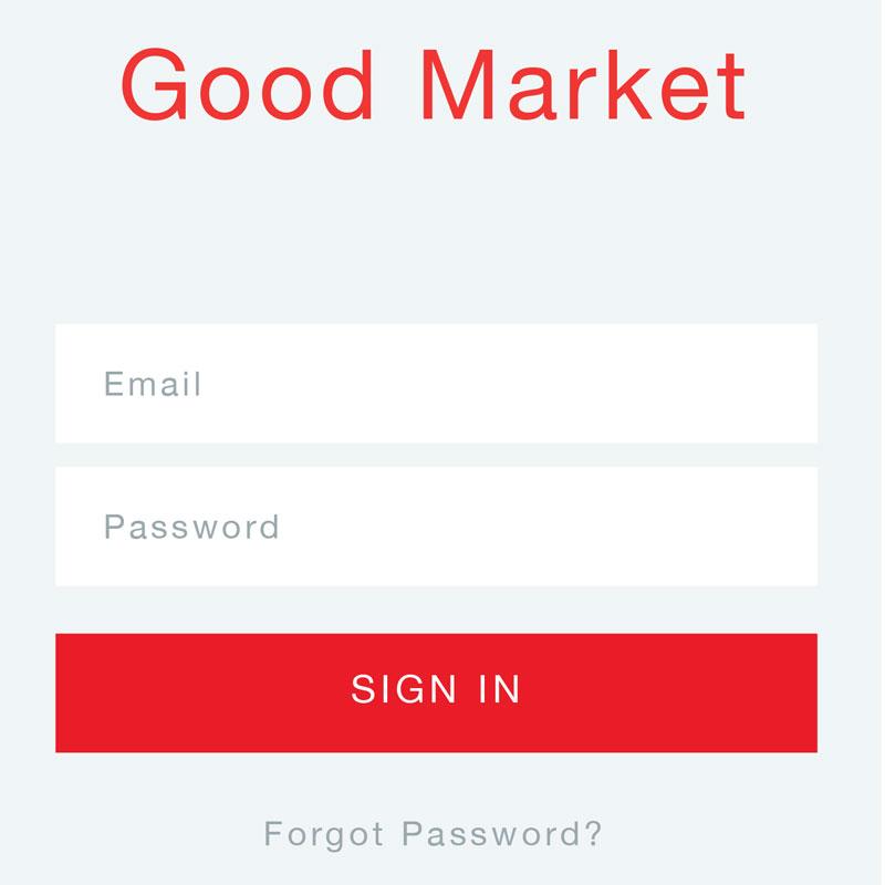 Good Market, grocery shopping app; UI design