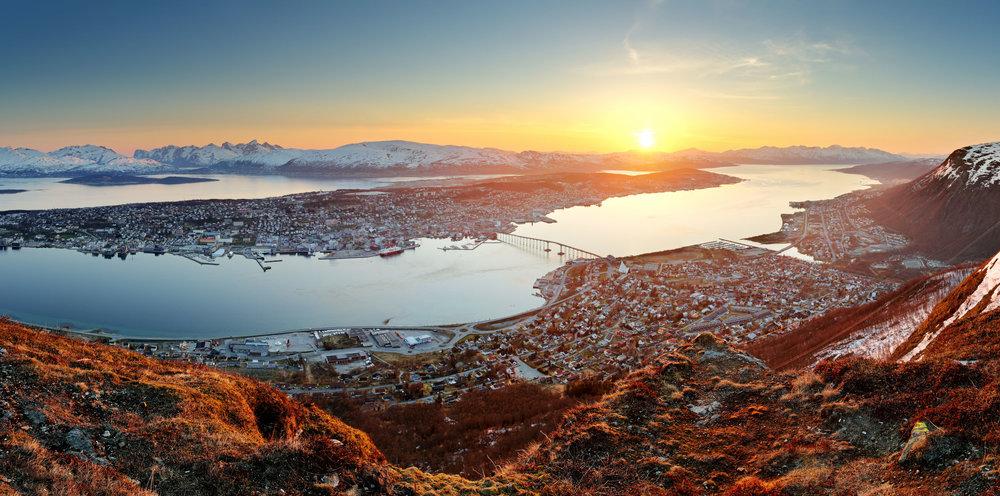 Tromso, Norway at sunset.