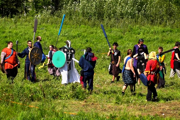 Members of several Amtgard of Alaska parks battle with foam weapons in Fairbanks at a statewide LARP event on May 28, 2016. (Scott Jensen / Alaska Dispatch News)