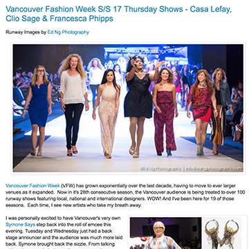 Vancouver Fashion Week S/S 17 Thursday Shows - Casa Lefay, Clio Sage & Francesca Phipps     Olio By Marilyn   September 2016