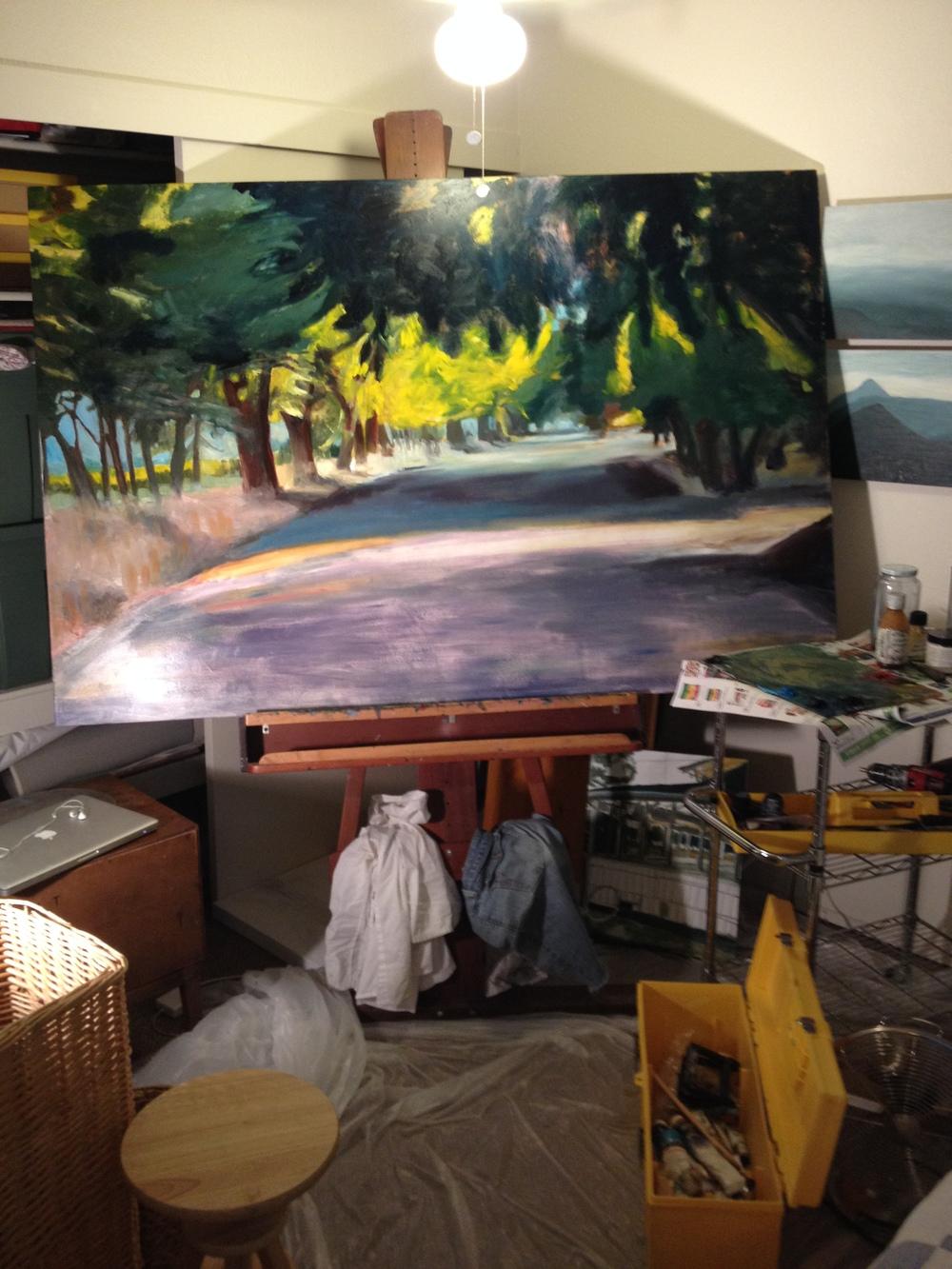 Working in bedroom corner,July 2014. County Road , in progress.