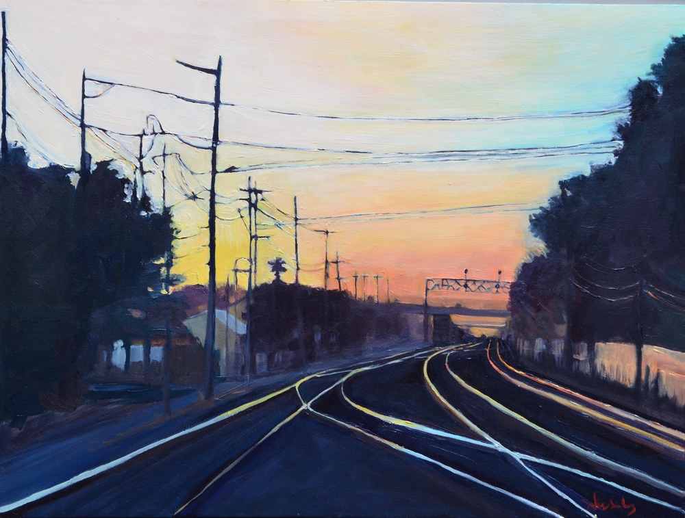 Dawn Train . 2014. Oil on panel. 18 x 24 inches. sold