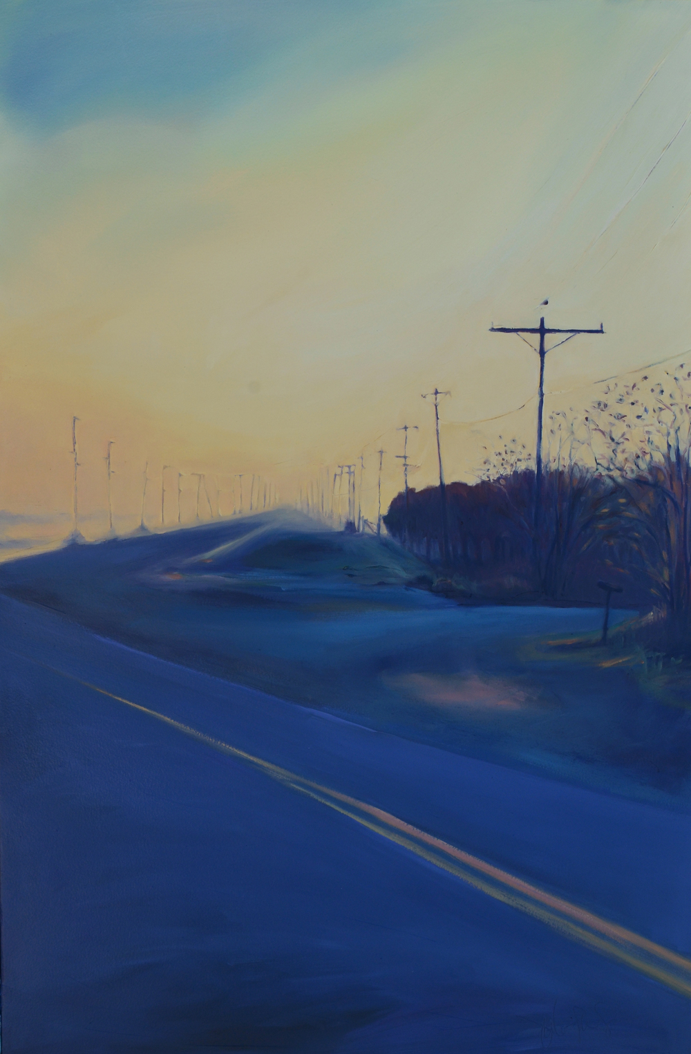 CR 29 Eastward, Blues.  2015.  Oil on panel. 18 x 23.5 inches.