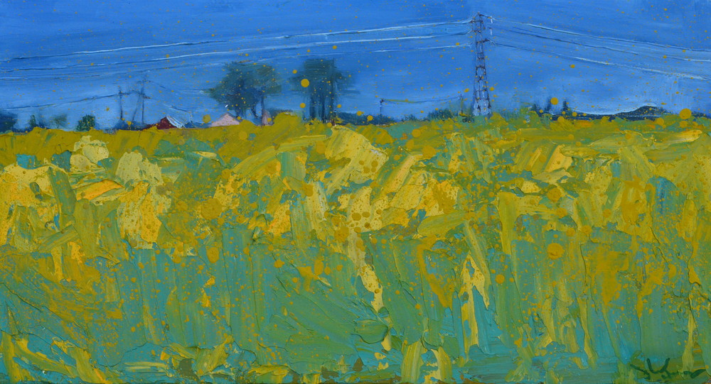 "Canola Field . 2015. Oil on panel. 22 x 12 inches.  The day I painted this piece I was not alone. During the painting I took several breaks to spread manure, a most inspiring chore- why, if not for hope and longing of enrichment, would one bother?; I conversed with someone who was intrigued by what and why I was painting;  I conversed with another person who thought that I shouldn't lose my day job. But, I was not alone. It was was late spring. I felt like I was stretching my roots down into a place of warmth while being drawn up into the light of human interest. I originally called this painting ""A Growing Joy""."