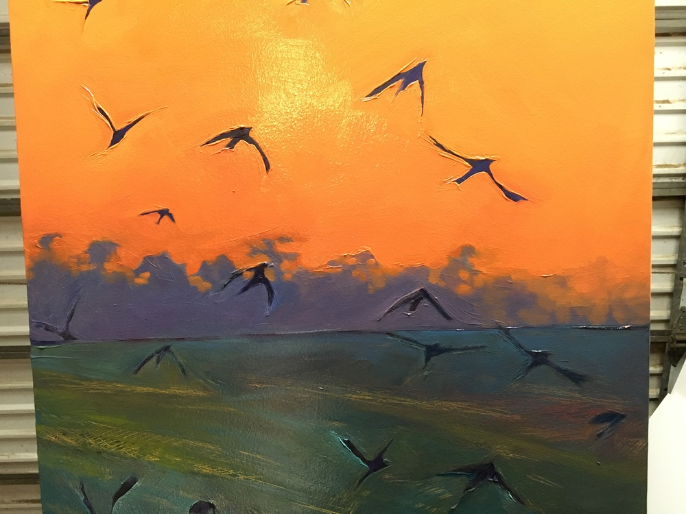 Dawn Flight,  in progress.   2015. Oil on panel. 23 x 50 inches. SOLD