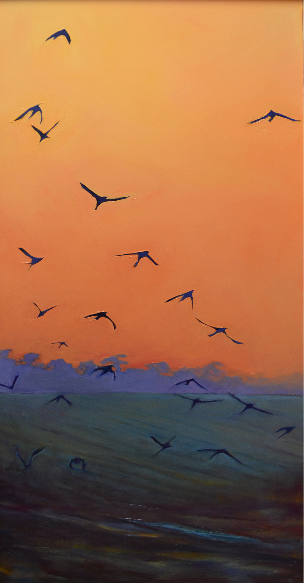 Dawn Flight.  2015. Oil on panel. 24 x 50 inches. sold.