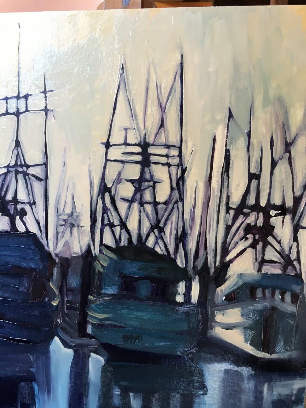 """""""Three Boats From Here in progress"""". The masts, like all my opening lines, start so boldly."""