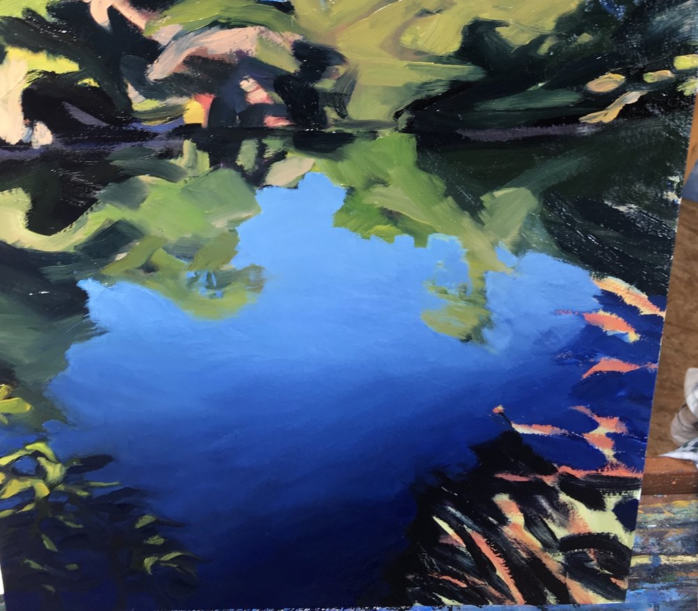 detail of  Creek, Grasses,  in progress