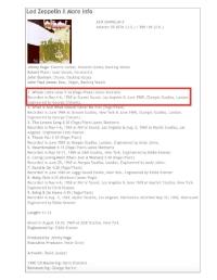 Led Zeppelin II Album Credits, June 1969