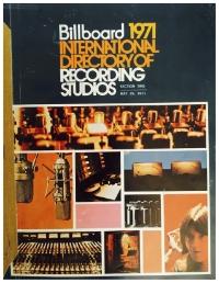 Billboard International Directory of Recording Studios, 1971