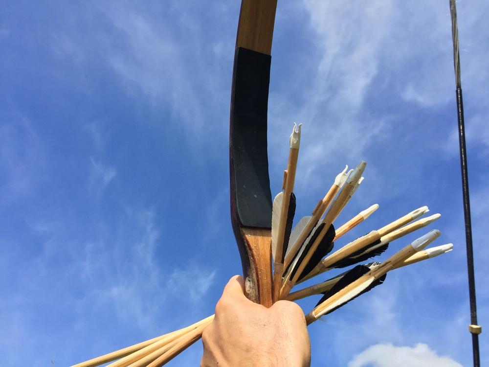 Als de veren van deze pijlen langer zouden zijn zouden de schachten ook verder omhoog steken. Dan zitten ze al snel in de weg bij het snelnokken.