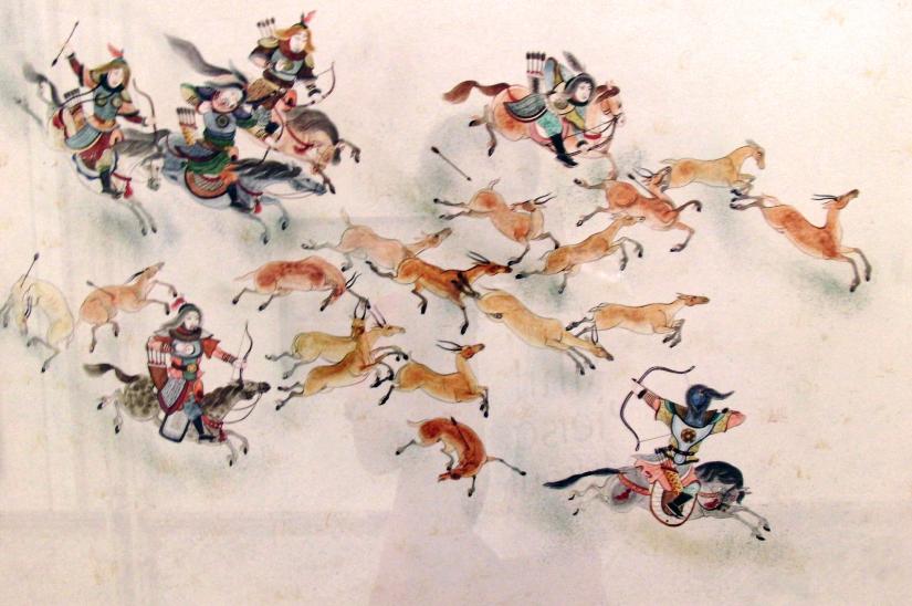 Boogschutters te paard tijdens de jacht op een Mongoolse schildering.