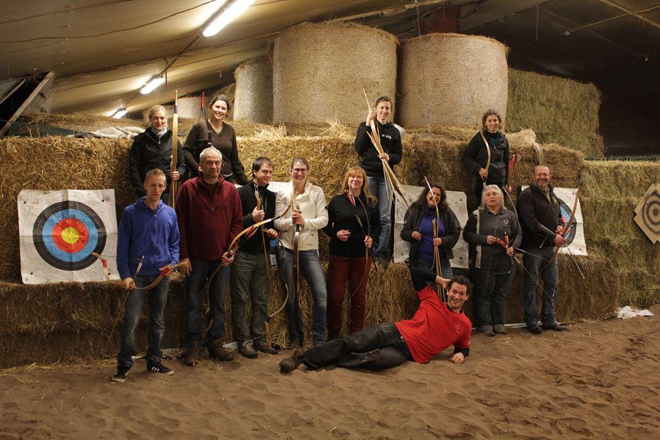 Training boogschieten te paard in Haacht (België).