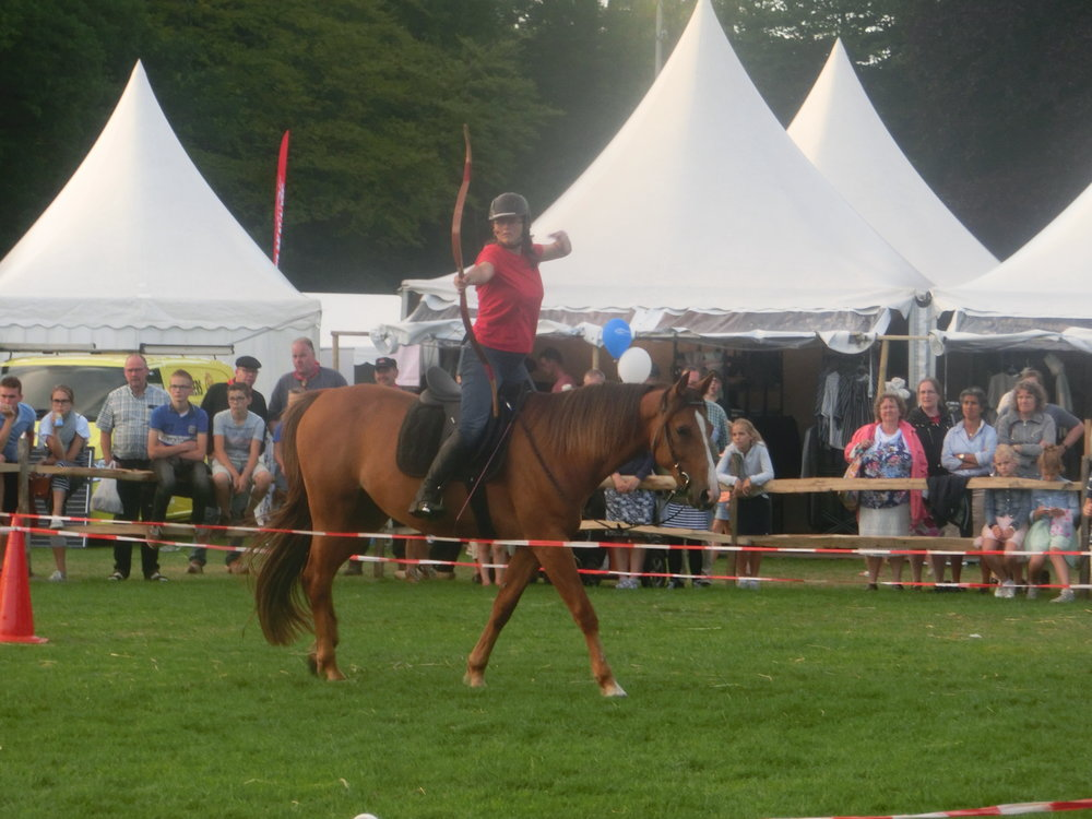 Demonstratie boogschieten te paard