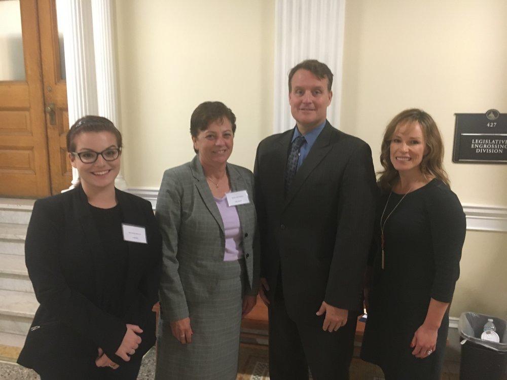 Pictured (L-R): Shannon Regan of Auburn, Mary Krumsiek of Millbury, Senator Michael Moore,  Erin Baniukiewicz of Grafton.