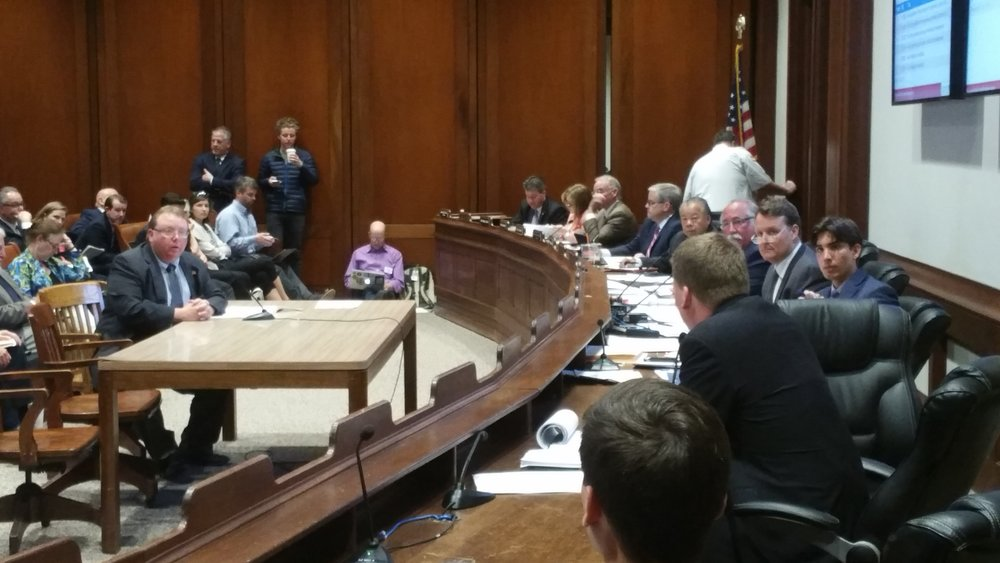 Representative Paul K. Frost (R-Auburn) testified before the Joint Committee on Municipalities and Regional Government that is Chaired by Senator Michael O. Moore (D-Millbury).