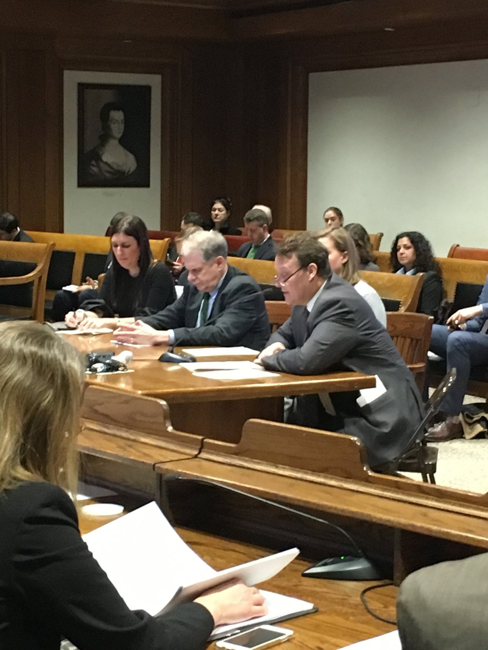 Senator Moore testifying before the Joint Committee on Housing alongside Representative Hannah Kane, Shrewsbury Board of Selectmen Chair John Lebeaux, and Assistant Town Manager Kristen Las.