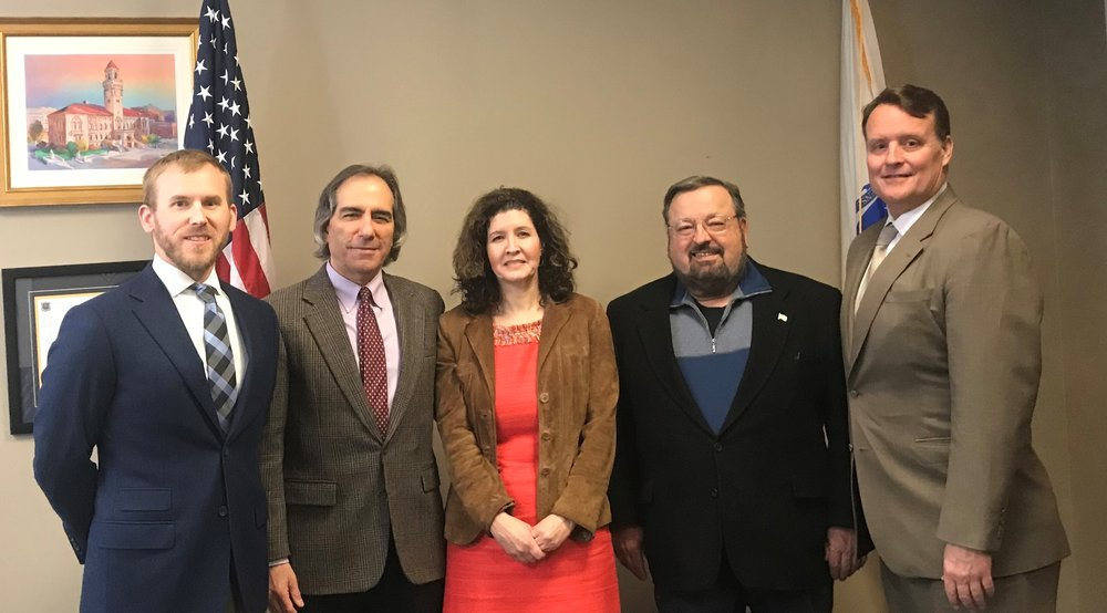 Pictured (L-R): Christopher Rodwill and John Papas of Worcester, Susan Crimmins of Shrewsbury, Paul DiCicco of Millbury and Senator Michael Moore.