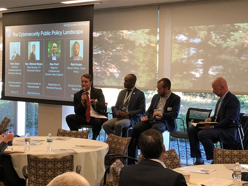 Pictured (L-R): Sen. Michael O. Moore, Second Worcester District, Ron Ford, DHS Regional Cybersecurity Advisor, Rob Knake, Senior Fellow, Cyber Policy, Council on Foreign Relations, Hans Olson, Assistant Undersecretary for Homeland Security, Commonwealth of Massachusetts.