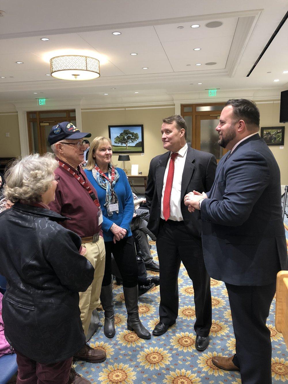 Agnita and William Knott and Lynn Paresky of the Bay State Trail Riders Association, Senator Michael Moore, Representative David Muradian.