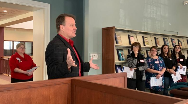 Sen. Moore speaking with librarians at Millbury Public Library during the annual Library Legislative Breakfast.