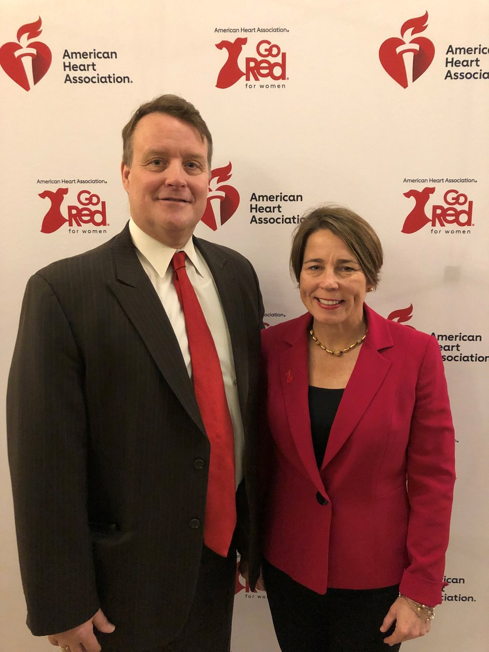 Sen. Moore and Attorney General Maura Healey participate in the annual 'Go Red for Women' day at the Massachusetts State House.