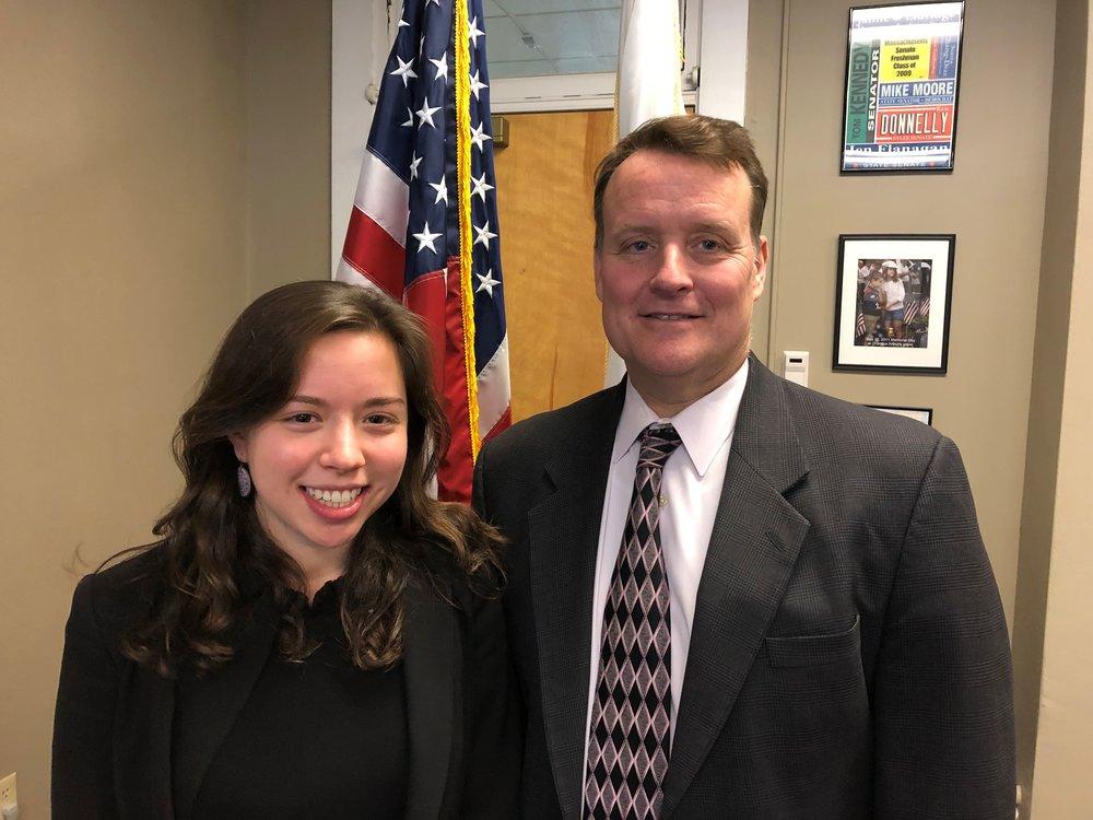 Pictured: Senator Michael O. Moore (D-Millbury) with Tufts University student Sophia Autor of Newton.