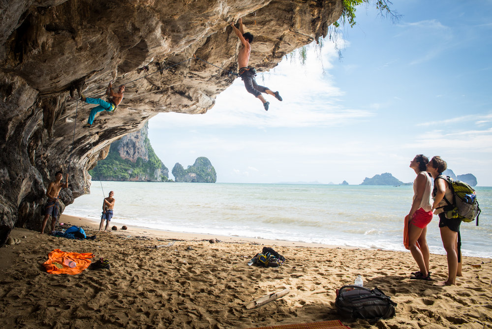 Tonsai Beach, in the Krabi province, is a popular climbing destination. The local community is small and has one main street. Electricity only runs from 6 pm to 6 am. At any time, the community can accommodate up to hundreds of visitors in their resorts, guest houses and hostels.