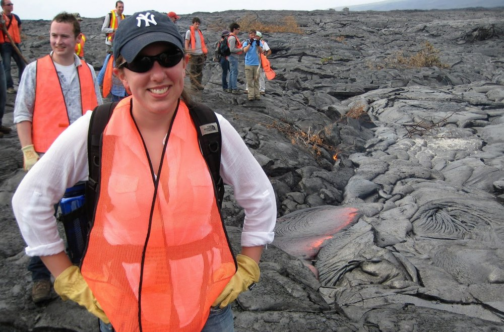 Hiking the active lava flows of Kileaua at Hawai'i Volcanoes National Park. My face matches the color of my vest because the lava behind me is 2200°F. (2011)