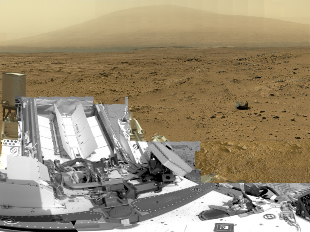 This picture is actually a composite of about 850 images from 3 different cameras on the  Curiosity  rover on Mars. (NASA/JPL-Caltech/MSSS)