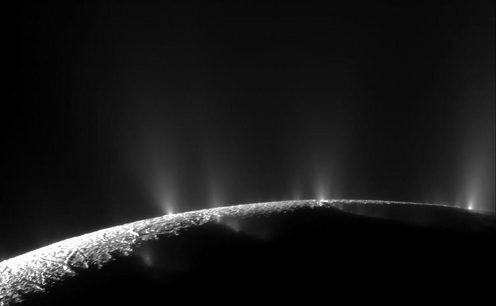 The geysers of Saturn's moon Enceladus were first detected by the  Cassini  spacecraft, which is still orbiting Saturn today. (NASA/JPL/SSI)