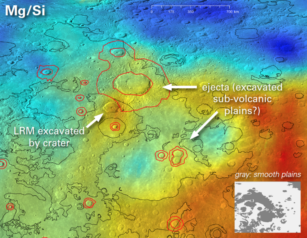 The black lines show the smooth plains boundaries (the inset shows this more clearly), and red circles show mapped ejecta around impact craters in the plains (Denevi et al. 2013). Deep blue regions have low Mg/Si, and red ones have high Mg/Si.