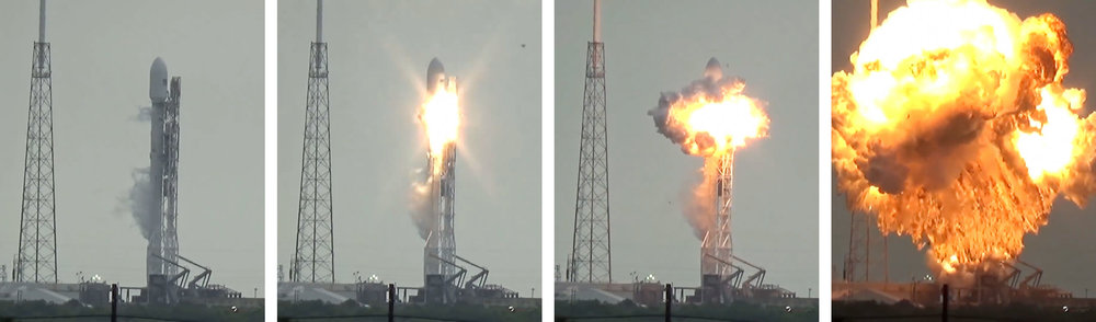 Failure of SpaceX's Falcon 9 rocket in September 2016. (US Launch Report via  Spaceflight Now )