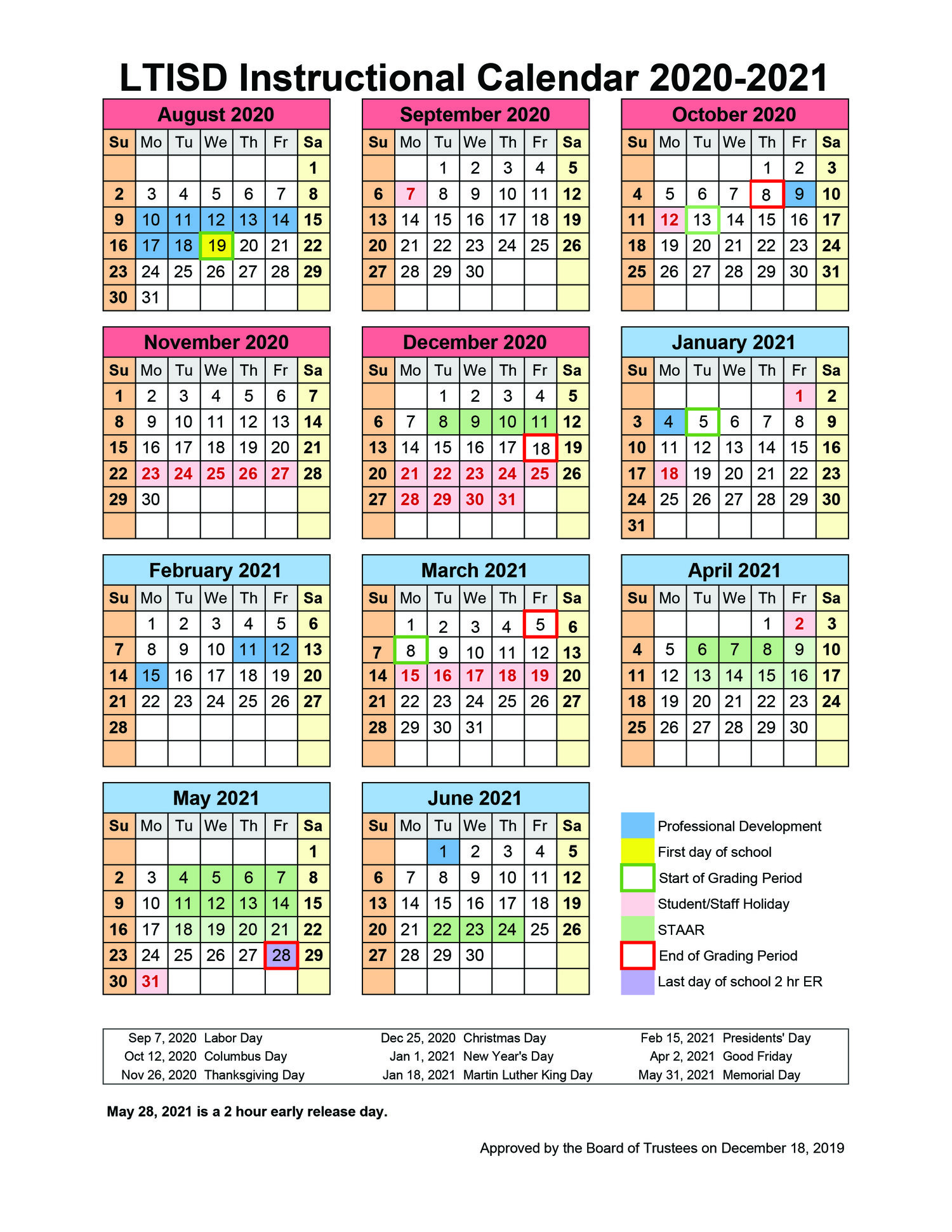 Calendar Dec 2019 Jan 2021 School board approves 2020 2021 Instructional Calendar — CURRENTS