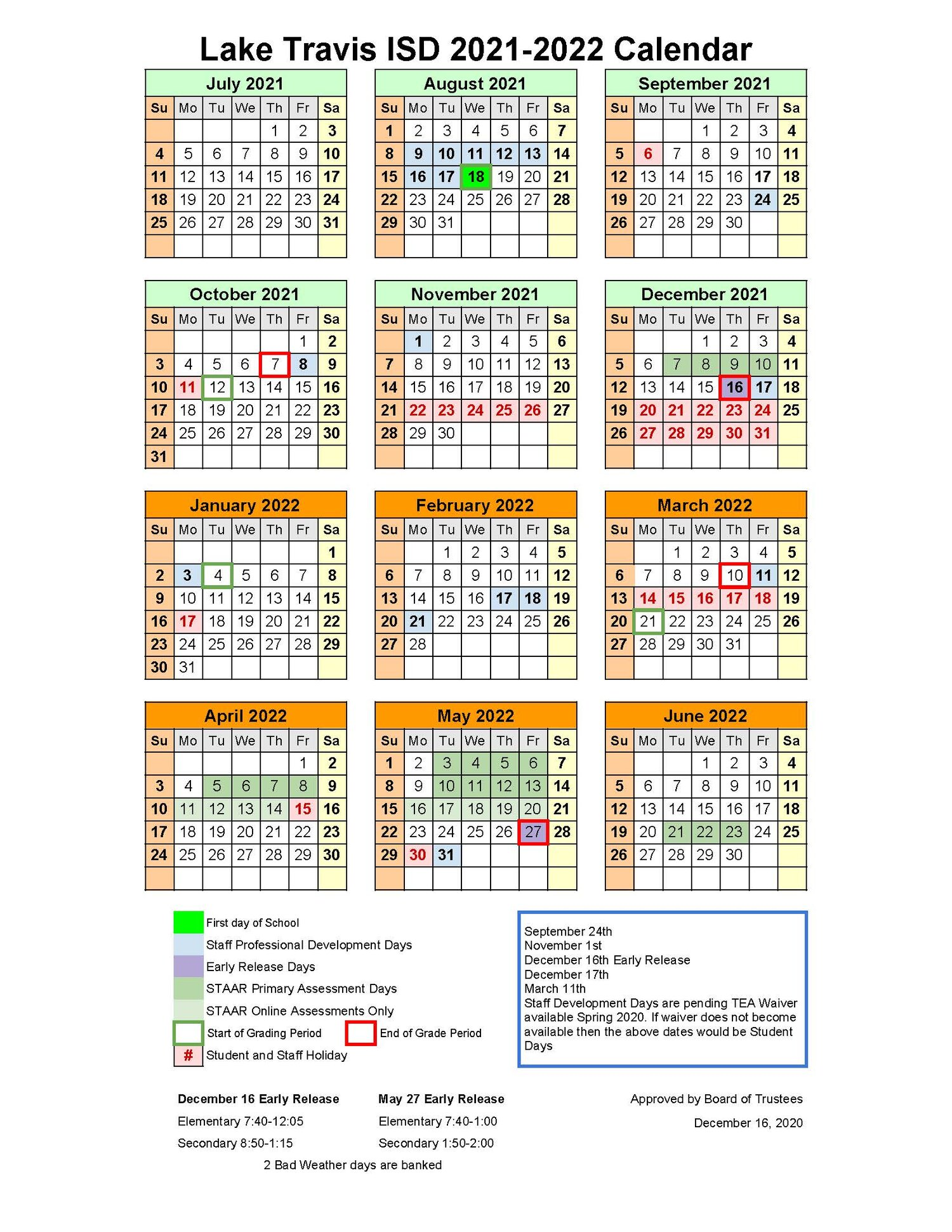 2022 Primary Calendar.Board Adopts Ltisd 2021 2022 Instructional Calendar Pending Waiver Currents
