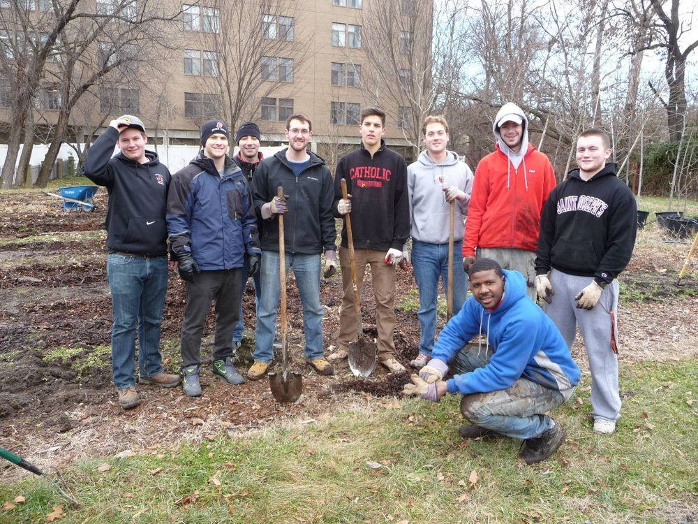 A great group from Catholic University preparing our new farm space at Marvin Gaye Community Center