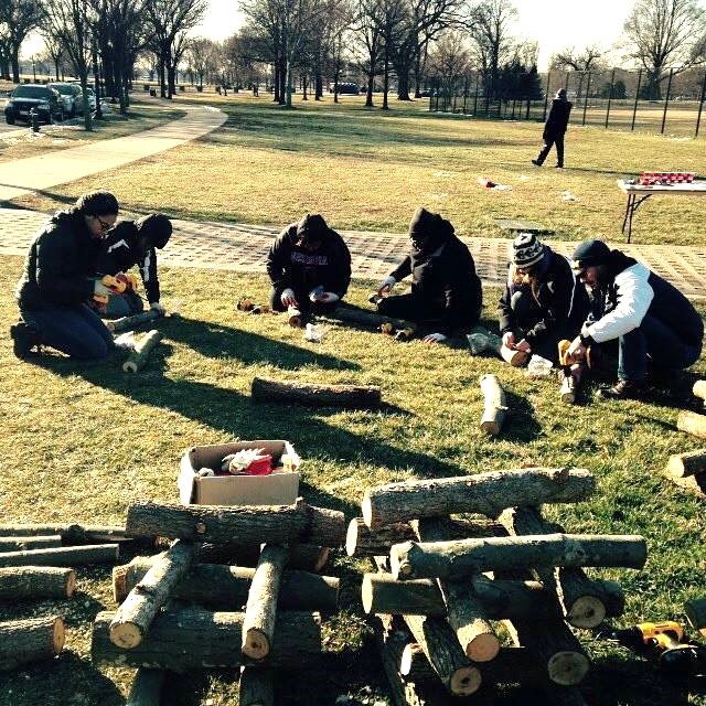 Martin Luther King Jr. Volunteer Day this past January. The team worked to inoculate logs with Mushroom Spawn