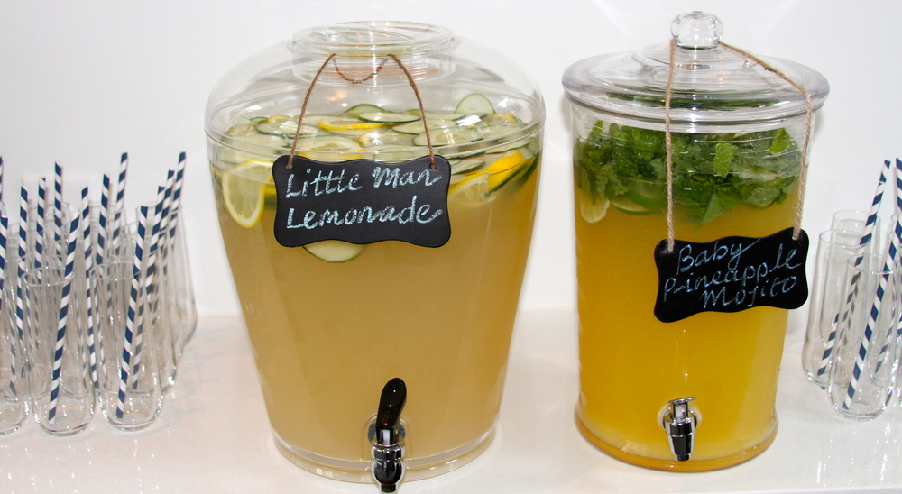 """Little Man Lemonade"" and ""Baby P-ineapple Mojito"" specialty mocktails."