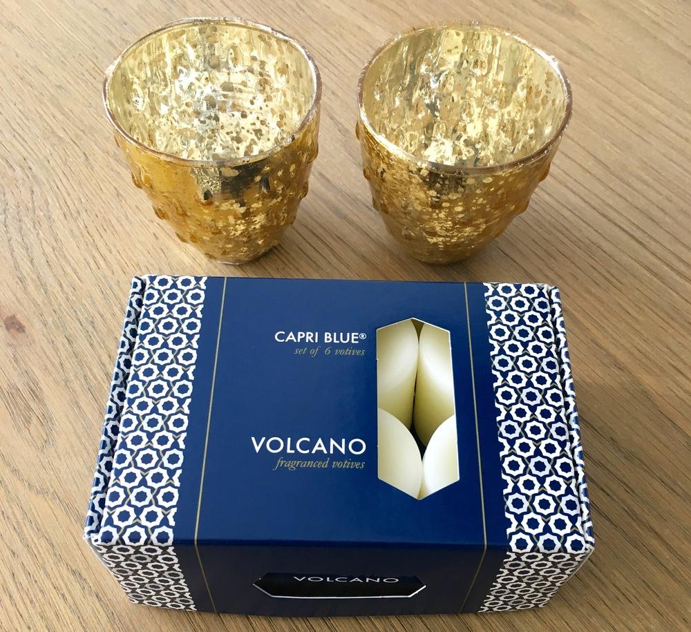 "Capri Blue ""Volcano"" votives: $18; bubbled mercury glass votive holders: $5 each"