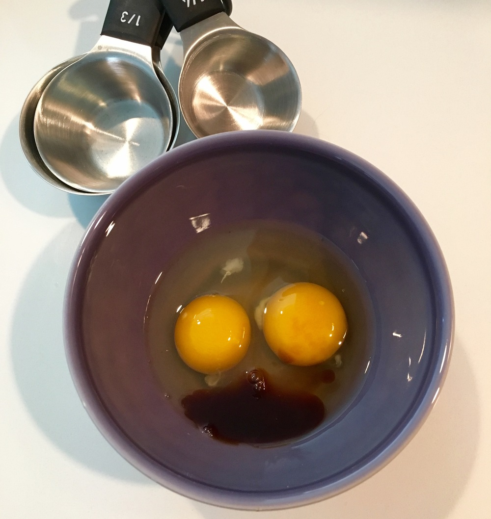 Beat two large eggs with the vanilla extract
